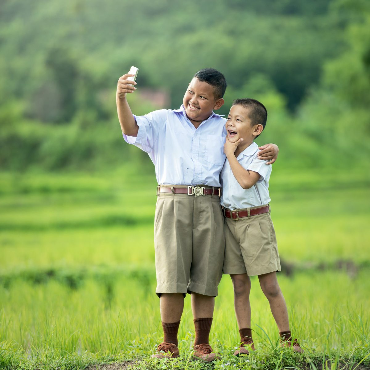 Children taking selfie